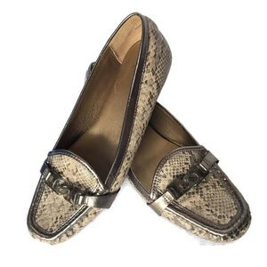 JOAN & DAVID LUXE Snakeskin Print Loafers Flats